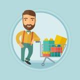 Kunde mit Einkaufslaufkatze voll von Geschenkboxen Lizenzfreies Stockbild