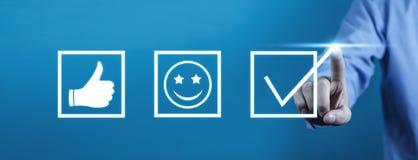 Kunden-Erfahrungs-Konzept Zufriedenheits-Bewertung stockfotos