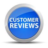 Kunden granskar den blåa runda knappen stock illustrationer