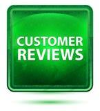 Kunden granskar ljust för neon - den gröna fyrkantknappen royaltyfri illustrationer