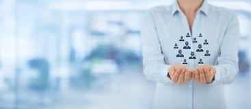 Kunden- oder Angestelltsorgfaltkonzept Stockfotos