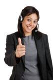 Kundenbetreuung, die Daumen aufgibt Stockbilder