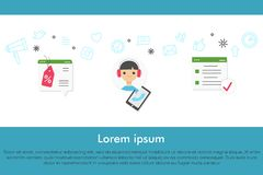 Kundenbetreuungs-Fahnenkonzept mit infographics Elementen Stockfotos