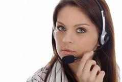 Kundenbetreuungsmädchen. Kundenkontaktcenter stockbild