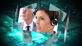 Kundenbetreuungsmontage stock video footage