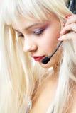 Kundendienst blond mit dem langen Haar Stockbild