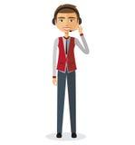 Kundendienst-Call-Center-Betreiber im Dienst MannKundendienstillustration Lizenzfreie Stockfotografie