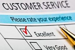 Kundendienst-Zufriedenheits-Übersichtsformular. stockfotos