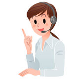 Kundendienstfrau, die oben in Kopfhörer zeigt Stockbild
