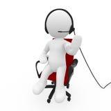 Kundendienstleitprogramm, das auf Kopfhörer sich unterhält Stockfotografie