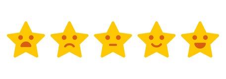 Kundenfeedback Ikonenhafte Illustration des Zufriedenheits-Niveaus Lizenzfreies Stockfoto