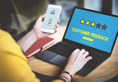 Kundenfeedback-Kommentar-Abstimmungs-Bericht-Ergebnis-Konzept lizenzfreie stockfotografie