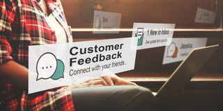 Kundenfeedback-Meinungs-Antwort-Berichts-Konzept lizenzfreie stockfotografie