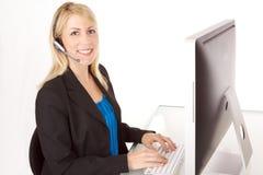 Kundenkontaktcenter-Mädchen Stockfotos