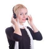 Kundenkontaktcenterfrau mit Kopfhörer Stockfotos