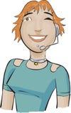 Kundenkontaktcentermädchen mit einem Grün   Stockfoto