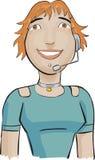Kundenkontaktcentermädchen mit einem Grün   Lizenzfreie Stockbilder