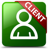 Kundenmitgliedsikonengrün-Quadratknopf Stockfoto