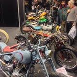 Kundenspezifische Fahrräder stellen an der VERONA-BEWEGUNGSfahrrad-AUSSTELLUNG 2015 Italien dar Stockfotografie