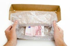 Kundenspezifischer Kasten mit Anmerkung des Euro 10 Stockbilder
