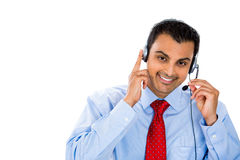 Kundenvertreter, der sorgfältig hört stockbilder
