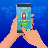 Kundgranskningar Granska värderingen på mobiltelefonen, återkopplingsvektorillustration Läs- kundgranskning i smart telefon royaltyfri illustrationer