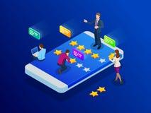 Kundgranskningar Granska värderingen på mobiltelefonen, återkopplingsvektorillustration Läs- kundgranskning i smart telefon vektor illustrationer