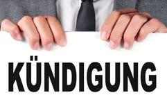 Kundigung, licenziamento in tedesco Immagine Stock Libera da Diritti