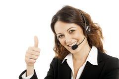 Kundinservice-Arbeitskraft, lächelnder Betreiber des Call-Centers Lizenzfreie Stockfotos