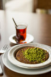 Kunefe with tea / Turkish Traditional Dessert Royalty Free Stock Images