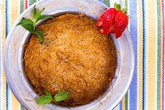 Kunefe, Turkish Dessert on a picnic cloth Royalty Free Stock Image