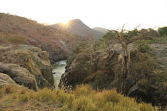 Kunene river near epupa falls. In namibia Royalty Free Stock Images