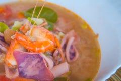 Kung батата Тома, или пряный суп креветки, классический пряный кальмар includind рецепта супа лимонного сорга и креветки и другие стоковое фото rf
