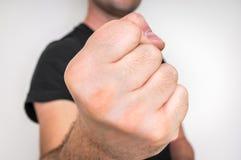 Kung fu战斗机用强的手和握紧拳头 库存照片