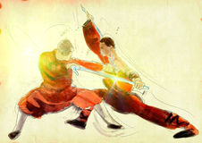 Kung fu. Chinese martial art. /// A hand drawn illustration of Chinese martial arts, popularly referred to as .  /// Post - processing: Sunrise light Stock Images