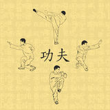 Τέσσερα άτομα συμμετέχουν στο kung fu Στοκ Φωτογραφία