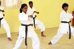 Kung fu. A group of indian men and women practising kung fu together stock image