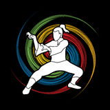 Kung Fu. Action designed on spin wheel background graphic vector Stock Photo