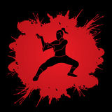 Kung Fu. Action designed on splatter blood background graphic vector Royalty Free Stock Photos