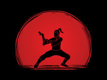 Kung Fu. Action designed on sunset background graphic vector Stock Photography
