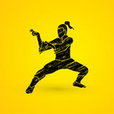 Kung Fu. Action designed using grunge brush graphic vector Stock Image