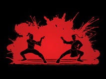 Kung Fu. Action ready to fight designed on splatter blood background graphic vector Stock Photo