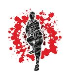Kung fu action ready to fight front view. Illustration graphic vector Stock Photo