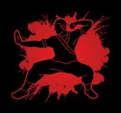 Kung fu action ready to fight. Illustration graphic vector Stock Image