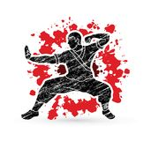 Kung fu action ready to fight. Illustration graphic vector Royalty Free Stock Photo