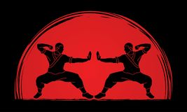 Kung fu action ready to fight graphic vector Royalty Free Stock Photo