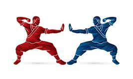 Kung fu action ready to fight graphic vector Royalty Free Stock Image