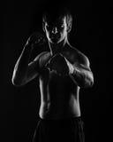 Kung Fu athletes do kata low key Royalty Free Stock Photos