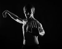 Kung Fu athletes do self defense kata Stock Image