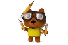 Kung Fu Bear met nunchakus en potlood, het 3D teruggeven Stock Foto